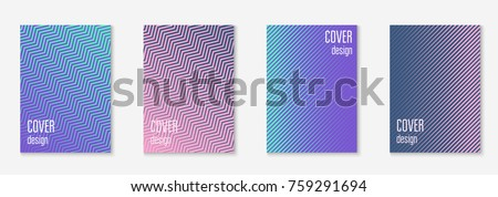 Minimal trendy cover template set. Futuristic layout with halftones. Geometric minimal cover template for book, catalog and annual. Minimalistic colorful gradients. Abstract business illustration. #759291694