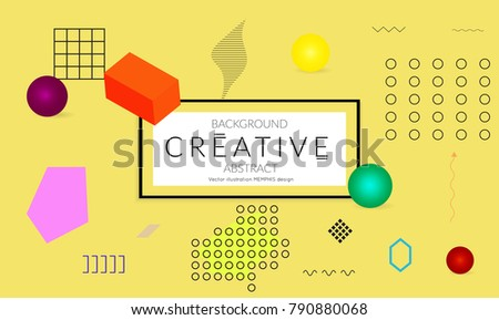 Minimal universal banner templates in Memphis style with 3D shapes. Futuristic retro 3D geometric design. Bright neon web banner layout.