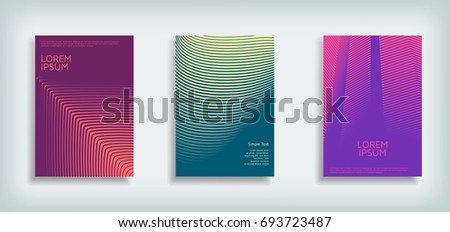 Minimal Vector Cover design set with abstract lines. Modern halftone gradients. Concept Poster template. #693723487
