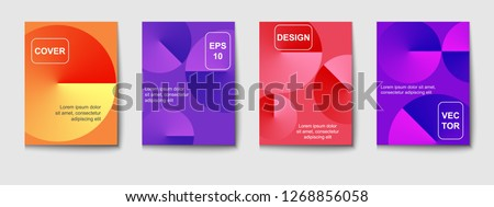 Minimal vector covers design. Round gradient shapes composition. #1268856058