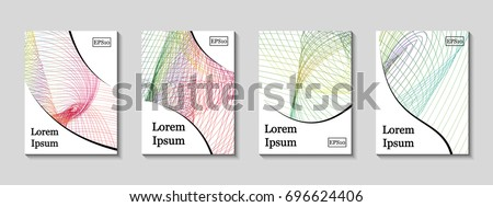 Minimal vector covers set. Future geometric line design set. Galaxy abstract gradient pattern background. Eps10. Can be use for journal, composition, cover, book, certificate, card, flyer #696624406