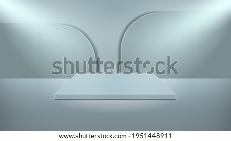 Minimal vector illustration 3d podium, bleachers, stages, of rectangular shape, the light from two lamps falls obliquely from above. The work was done in Pastel Blue. Foto stock ©