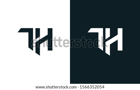 Minimalist abstract letter TH logo. This logo icon incorporate with two abstract shape in the creative process. Stock fotó ©
