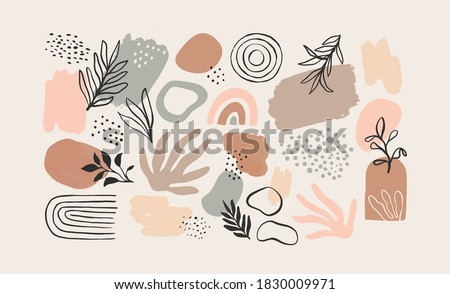 Minimalist abstract nature art shapes collection. Pastel color doodle bundle for fashion design, summer season or natural concept. Modern hand drawn plant leaf and tropical shape decoration set.