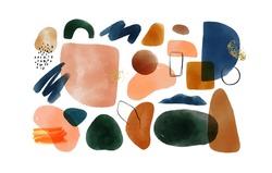 Minimalist abstract watercolor art shapes collection. Pastel color doodle bundle for fashion design or natural concept. Modern hand drawn paint doodle, organic geometric shape decoration set.