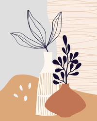 Minimalist art line wall art, poster, background with decorative leaves in vase. Modern contemporary design.