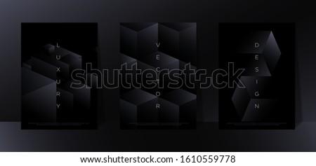 Minimalist black premium abstract background set with luxury dark geometric elements. Exclusive wallpaper design for poster, brochure, flyer, presentation, website etc. - Vector EPS