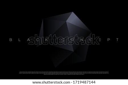 Minimalist black premium abstract facet background with luxury dark geometric elements. Exclusive wallpaper design for poster, brochure, presentation, website etc. - Vector EPS