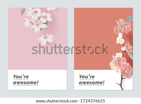 Minimalist botanical greeting card template design, Somei Yoshino sakura and Japanese quince flowers