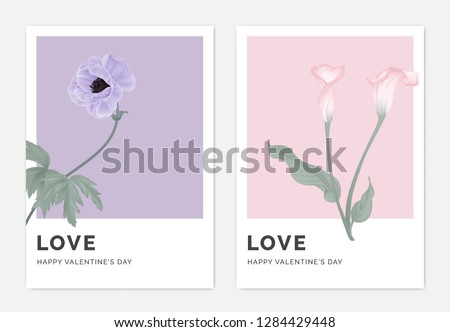 Minimalist botanical valentine greeting card template design, anemone flower on purple and calla lily flowers on pink