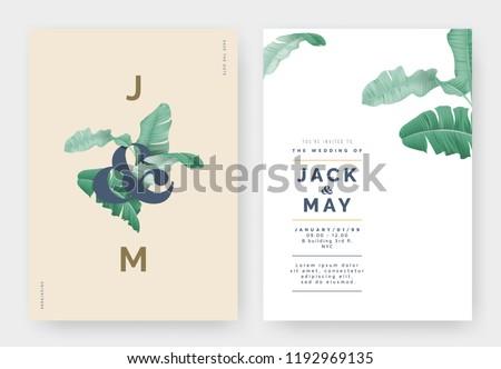 Minimalist botanical wedding invitation card template design, banana leaves with lettering on light brown, pastel vintage theme