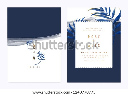 Minimalist botanical wedding invitation card template design, blue bamboo palm leaves on dark blue, watercolor painting