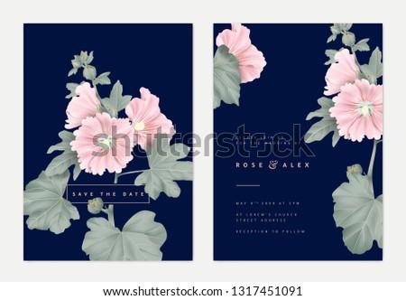 Minimalist botanical wedding invitation card template design, pink Alcea or hollyhocks flowers and leaves on dark blue