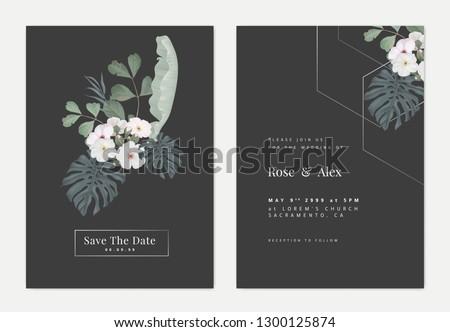 Minimalist botanical wedding invitation card template design, Woolly rock jasmine flowers and various leaves on dark grey