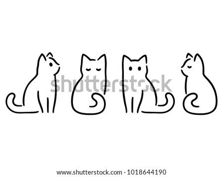 minimalist cats drawing set