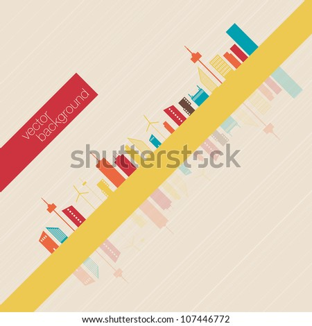 Minimalist Colorful panorama city background | EPS10 Design