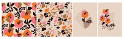Minimalist contemporary floral abstract pattern set. Modern shabby mosaic style poppy flowers for print and web design. Moron, brown and coral orange natural cards, poster.