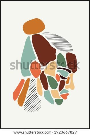 Minimalist contemporary portrait of woman beauty surreal face line art Photo stock ©