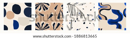 Minimalist contemporary trendy abstract pattern set. Fashionable template for design. Modern style.