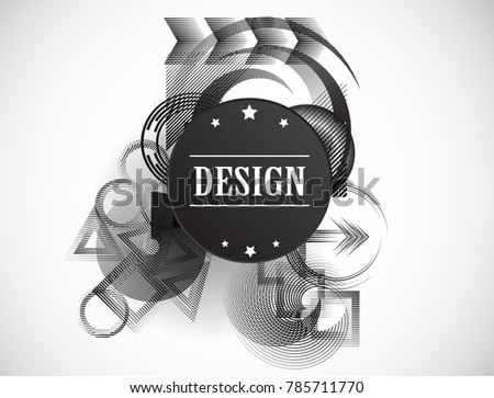 Minimalist Creative concept . Flat style . Geometric lines and design elements form unusual shape . Vector abstract background . Dynamic banner with stripes .