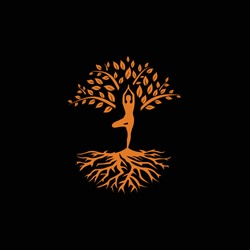minimalist creative tree logo and yoga vector