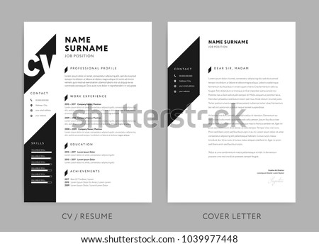 Minimalist CV / resume and cover letter - minimal design - black and white background vector - stylish minimalism