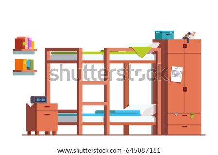 Free Bunk Bed Room Vector Illustration Download Free Vector Art