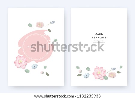 Minimalist floral wedding invitation card template design, anemone, lotus, Nemophila and leaves with pink badge on white background, pastel vintage theme