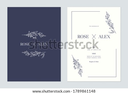 Minimalist floral wedding invitation card template design, floral line art ink drawing on blue and bright grey