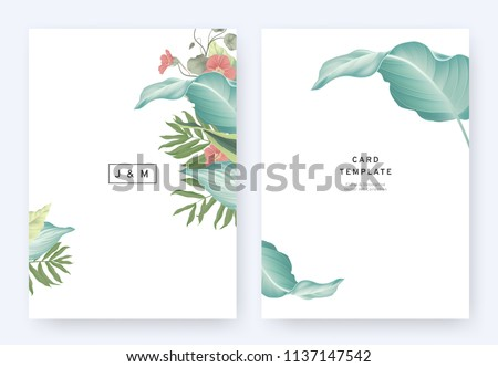 Minimalist floral wedding invitation card template design, tropical plants and red Tropaeolum flowers on white background, pastel vintage style