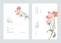 Minimalist floral wedding invitation card template design, various flowers bouquet on white