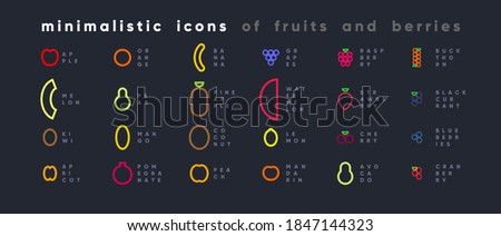 Minimalist fruit and berry icon set. Simplified Abstract style vector icons.
