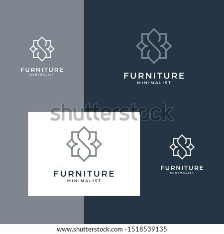 minimalist furniture logo design style line.