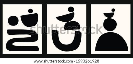 minimalist geometrical abstract art mid century modern style black and white artwork templates set of 3