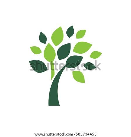 minimalist green tree logo
