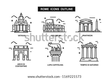minimalist icon Rome flat line style. Vector