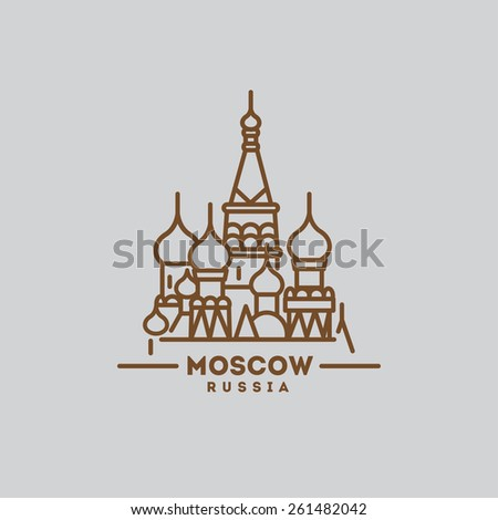 minimalist iconof Moscow Russia flat one line style