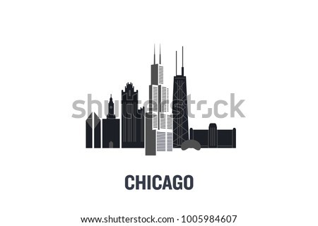 Minimalist illustration of Chicago principal buildings. Flat vector design.