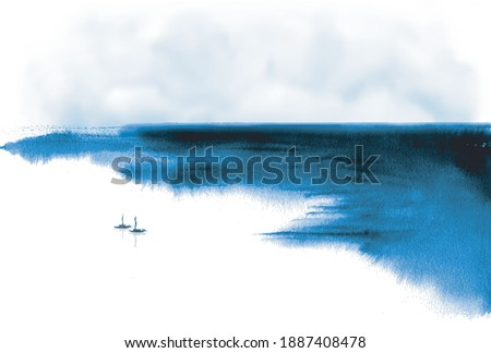 Minimalist ink wash painting landscape with fishing boats and sea coast. Traditional Japanese ink wash painting sumi-e.