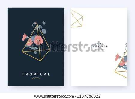 stock-vector-minimalist-invitation-card-template-design-red-tropaeolum-flowers-flowers-in-golden-polygon