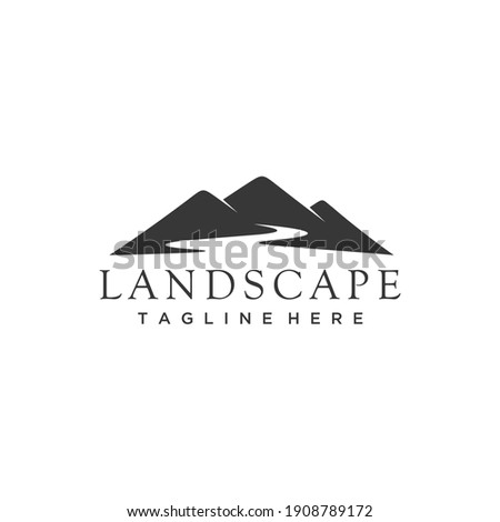 Minimalist landscape hills, mountain peaks river creek silhouette logo design vector
