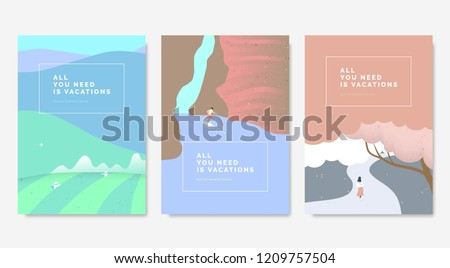 Minimalist landscape poster design, farmer working in tea farm on the mountains, man on surfboard exploring inside canyon, girl walking in the street under cherry blossom tree