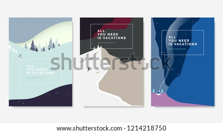 Minimalist landscape poster design, skier skiing downhill on mountain, man climbing snow mountain, small house between mountains at night