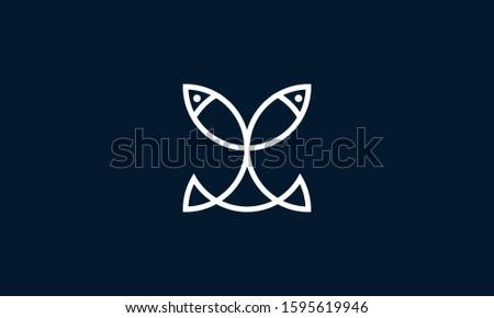 minimalist line art two fish