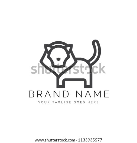 Minimalist Lineart Outline Lion Icon Logo Design