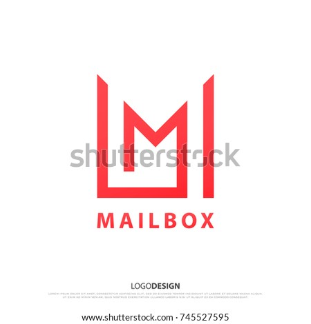 minimalist mailbox icon. vector, e-mail service symbol. M letter sign, modern logo design. business communication concept logotype
