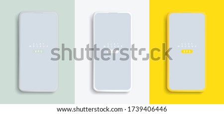 Minimalist modern clay mockup smartphones with colored background. Vector EPS.