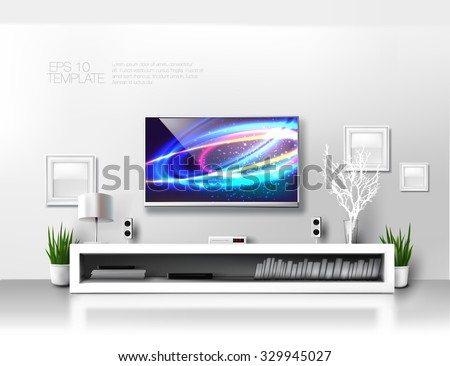 minimalist modern  white tv