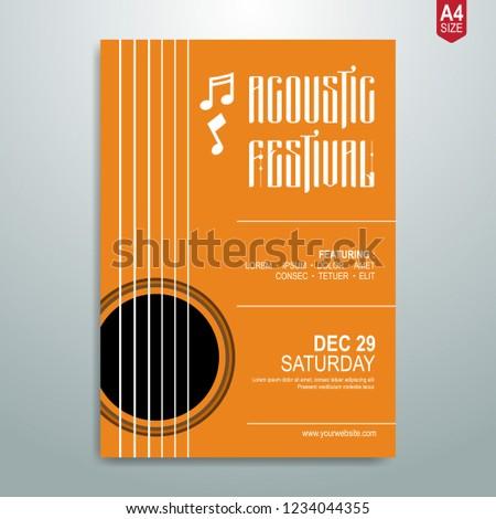 Minimalist Music poster, flyer, brochure template. vector illustration