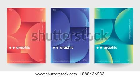 Minimalist posters set with grapient shape patterns. Eps10 vector.
